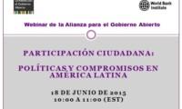 Próximo webinario sobre participación ciudadana y gobierno abierto